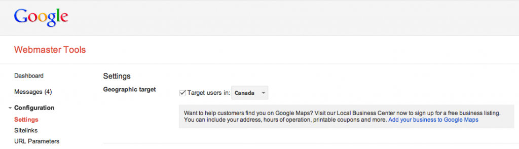 Google Webmaster Tools: Selecting a target audience