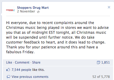 Shoppers Drug Mart Facebook holiday music announcement